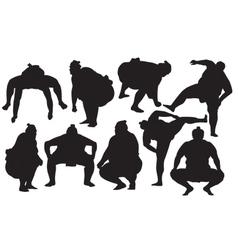 Sumo wrestlers silhouette vector