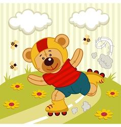 Teddy bear on a skating vector