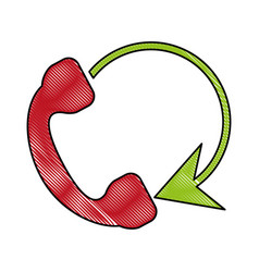 Telephone circule flat scribble vector