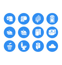 Toilet paper roll towel flat glyph icons hygiene vector