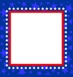 Usa flag symbol square blue frame vector