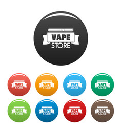 Vape store ribbon icons set color vector