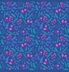 Vibrant colors seamless pattern with flowers vector