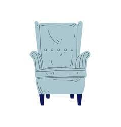 Vintage armchair on wooden legs cushioned vector