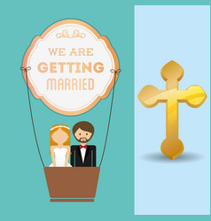 We are greeting married couple and airballoon vector