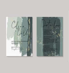 wedding green luxury invitation cards with gold vector image