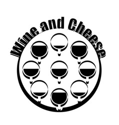 wine and cheese logotype black and white design vector image
