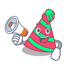 With megaphone party hat character cartoon vector