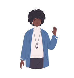 Young african-american woman waving with hand vector