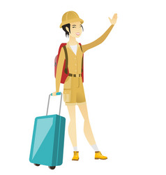 young asian traveler waving her hand vector image