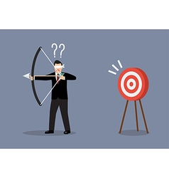 Blindfold businessman look for target in wrong vector image