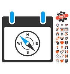 compass calendar day icon with valentine bonus vector image vector image