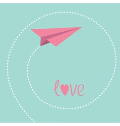Origami paper plane dash spiral in the sky love vector