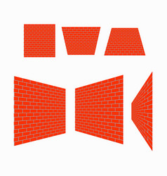 perspective brick wall vector image