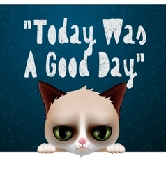 Today was a good day card with cute grumpy cat vector image vector image