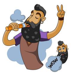 vapor man man with vape and cloud vector image