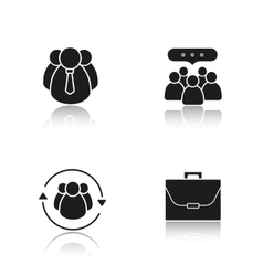Business drop shadow black icons set vector image