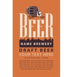 label beer with truck with barrel vector image vector image