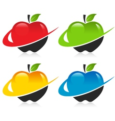 Swoosh Apple Icons vector image vector image