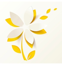 Yellow paper flower greeting card template vector image vector image