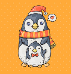cute cartoon penguins cartoon in vector image