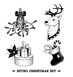 Christmas icons black and white set vector image