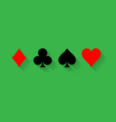 poker card suits - hearts clubs spades and vector image
