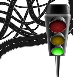 Traffic background with traffic lamp and roads vector image