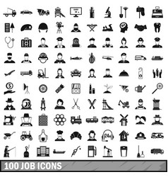 100 job icons set in simple style vector image