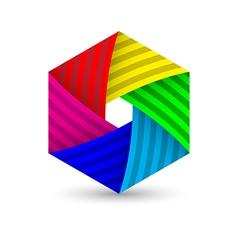 abstract polygonal hexagon diagram colorful icon vector image