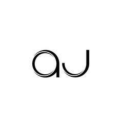 Aj logo monogram with slice rounded modern design vector