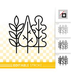 Autumn leaves simple black line icon vector