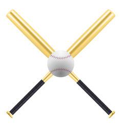 baseball and golden baseball bats isolated on vector image