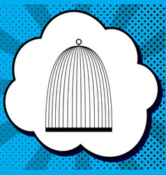 bird cage sign black icon in bubble on vector image