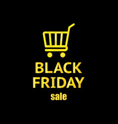 black friday creative shopping cart icon with vector image