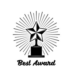 Black trophy awards with star icon isolated vector