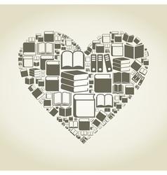 Book heart vector