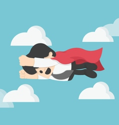 Businessman is flying like superman flying fast vector