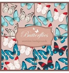 Butterflies seamless set vector image