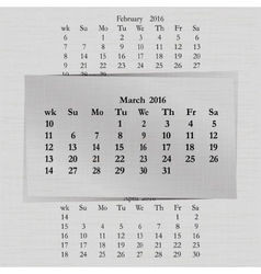 calendar month for 2016 pages March vector image