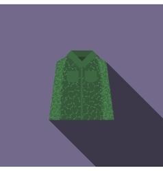 Camouflage jacket icon flat style vector