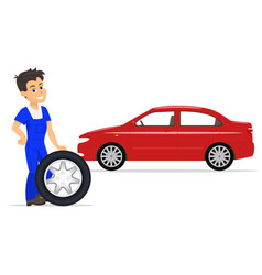 Cartoon worker on replacement tires wheels vector