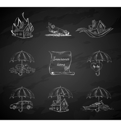 Chalk board insurance security icons vector
