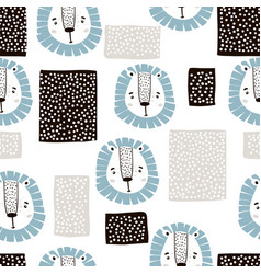 childish seamless pattern with lions and abstract vector image