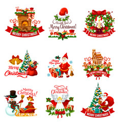 Christmas holiday badge for new year decoration vector