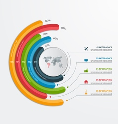 Circle infographic template with 5 processes vector