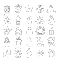 Collection of line christmas elements and vector image