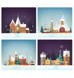 Collection of winter cityscapes or urban vector