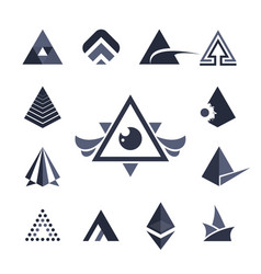 collection triangles icons vector image