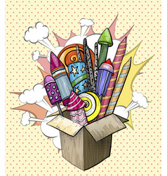 colorful large firework in cardboard box pop art vector image